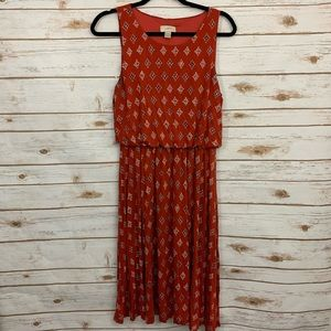 Loft Orange Sleeveless Patterned Blouson Dress